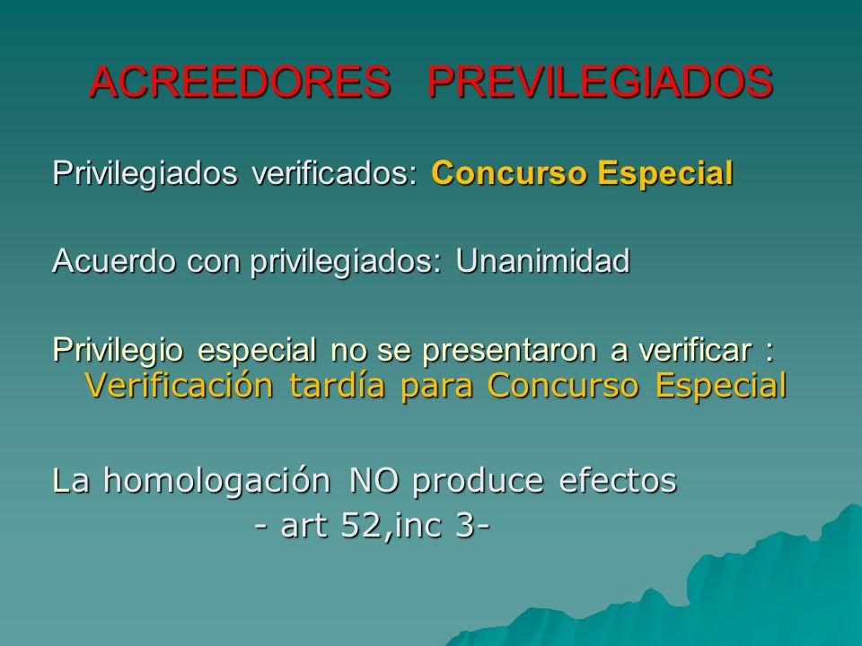 ACREEDORES PREVILEGIADOS Privilegiados verificados: Concurso Especial Acuerdo con privilegiados: Unanimidad Privilegio especial no se presentaron a ve