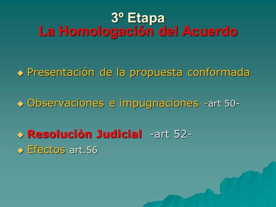 3º Etapa La Homologación del Acuerdo Presentación de la propuesta conformada Presentación de la propuesta conformada Observaciones e impugnaciones -ar