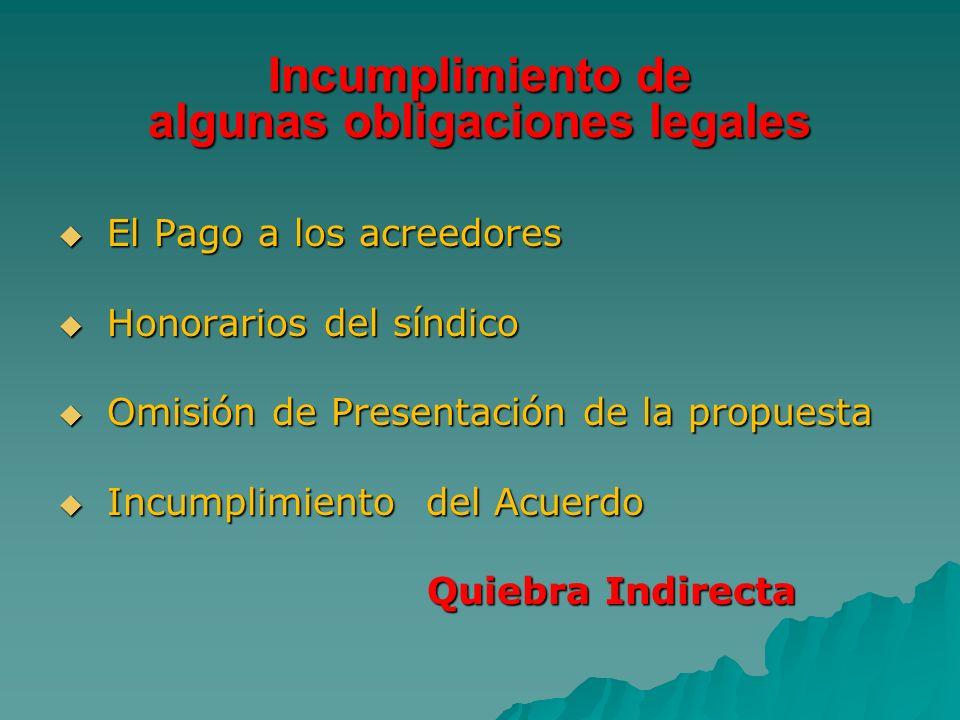 Incumplimiento de algunas obligaciones legales El Pago a los acreedores El Pago a los acreedores Honorarios del síndico Honorarios del síndico Omisión