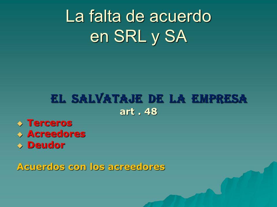 La falta de acuerdo en SRL y SA El Salvataje de la Empresa El Salvataje de la Empresa art. 48 Terceros Terceros Acreedores Acreedores Deudor Deudor Ac