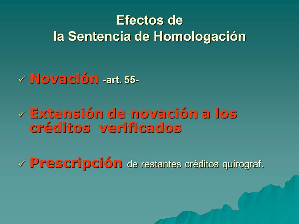 Efectos de la Sentencia de Homologación Novación -art. 55- Novación -art. 55- Extensión de novación a los créditos verificados Extensión de novación a