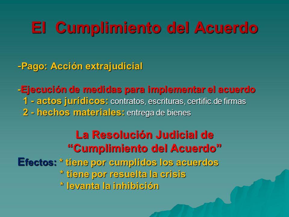 El Cumplimiento del Acuerdo - Pago: Acción extrajudicial -Ejecución de medidas para implementar el acuerdo 1 - actos jurídicos: contratos, escrituras,