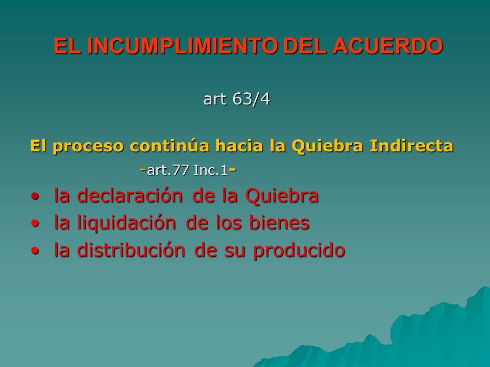 EL INCUMPLIMIENTO DEL ACUERDO EL INCUMPLIMIENTO DEL ACUERDO art 63/4 art 63/4 El proceso continúa hacia la Quiebra Indirecta - art.77 Inc.1 - - art.77
