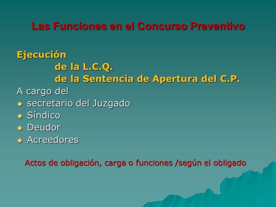 Las Funciones en el Concurso Preventivo Ejecución de la L.C.Q. de la L.C.Q. de la Sentencia de Apertura del C.P. de la Sentencia de Apertura del C.P.