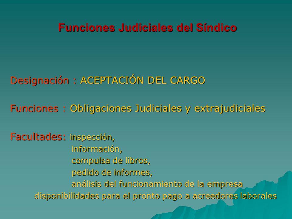 Funciones Judiciales del Síndico Designación : ACEPTACIÓN DEL CARGO Designación : ACEPTACIÓN DEL CARGO Funciones : Obligaciones Judiciales y extrajudi