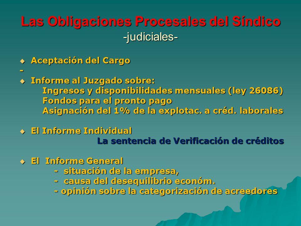 Las Obligaciones Procesales del Síndico -judiciales- Aceptación del Cargo Aceptación del Cargo- Informe al Juzgado sobre: Informe al Juzgado sobre: In