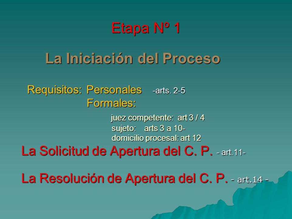 Etapa Nº 1 La Iniciación del Proceso La Iniciación del Proceso Requisitos: Personales -arts. 2-5 Requisitos: Personales -arts. 2-5 Formales: Formales: