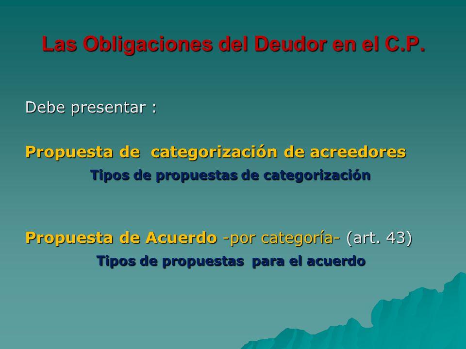 Las Obligaciones del Deudor en el C.P. Debe presentar : Propuesta de categorización de acreedores Tipos de propuestas de categorización Tipos de propu