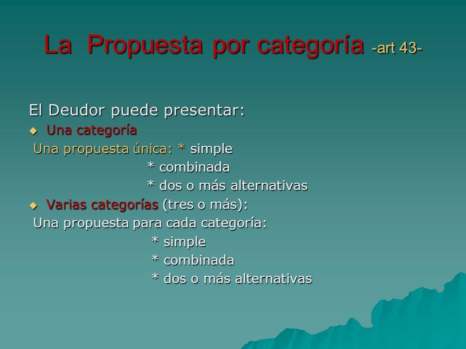 La Propuesta por categoría -art 43- El Deudor puede presentar: Una categoría Una categoría Una propuesta única: * simple Una propuesta única: * simple
