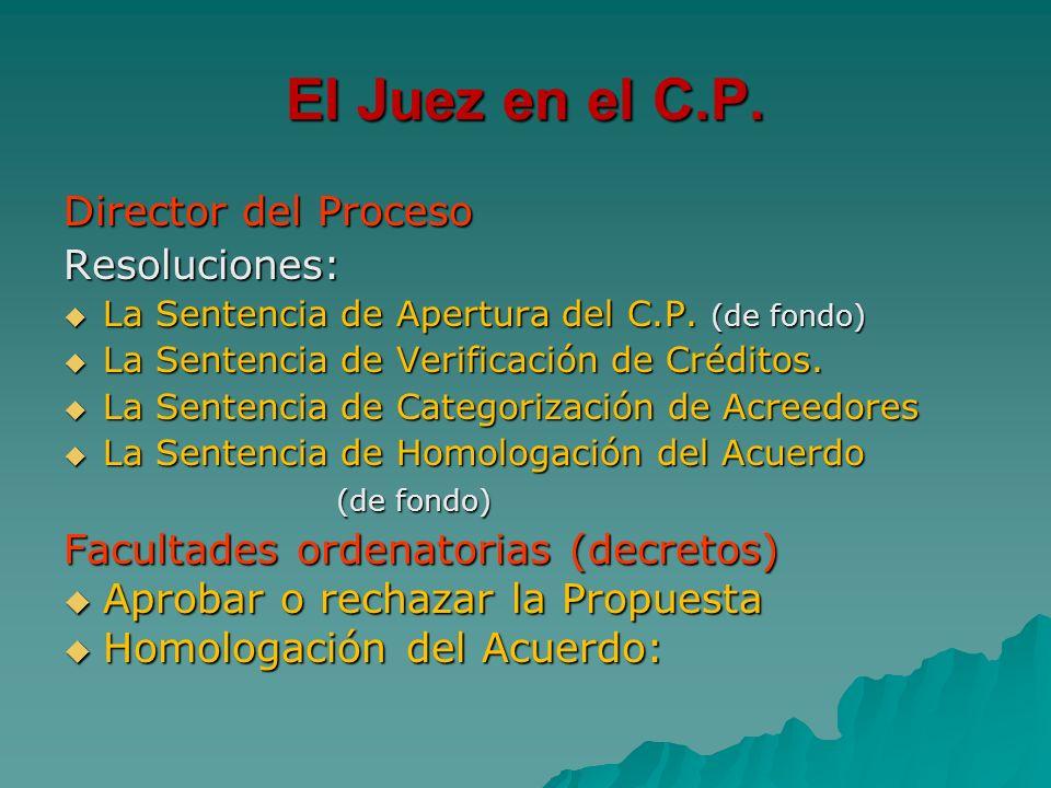 El Juez en el C.P. Director del Proceso Resoluciones: La Sentencia de Apertura del C.P. (de fondo) La Sentencia de Apertura del C.P. (de fondo) La Sen