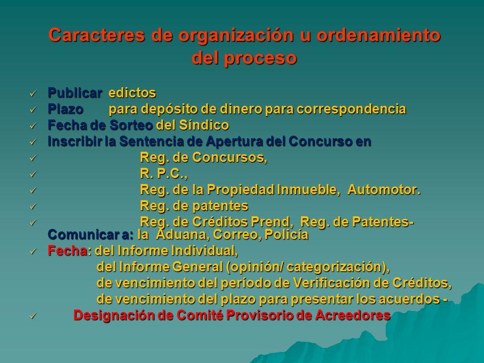 Caracteres de organización u ordenamiento del proceso Publicar edictos Publicar edictos Plazo para depósito de dinero para correspondencia Plazo para