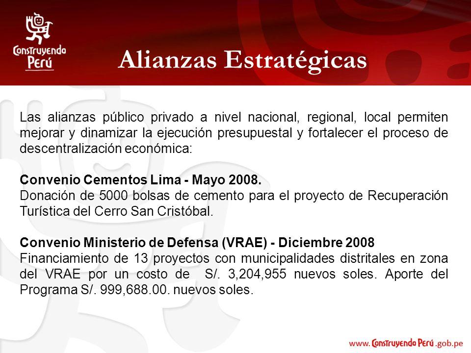 Alianzas Estratégicas Las alianzas público privado a nivel nacional, regional, local permiten mejorar y dinamizar la ejecución presupuestal y fortalec