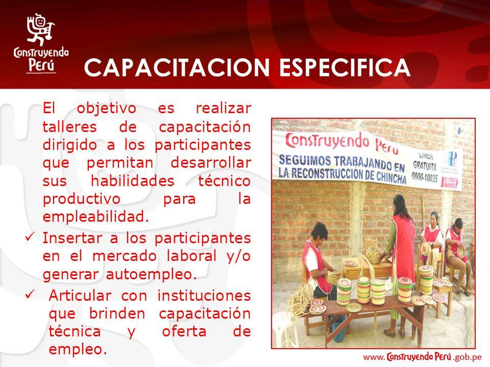 CAPACITACION ESPECIFICA El objetivo es realizar talleres de capacitación dirigido a los participantes que permitan desarrollar sus habilidades técnico