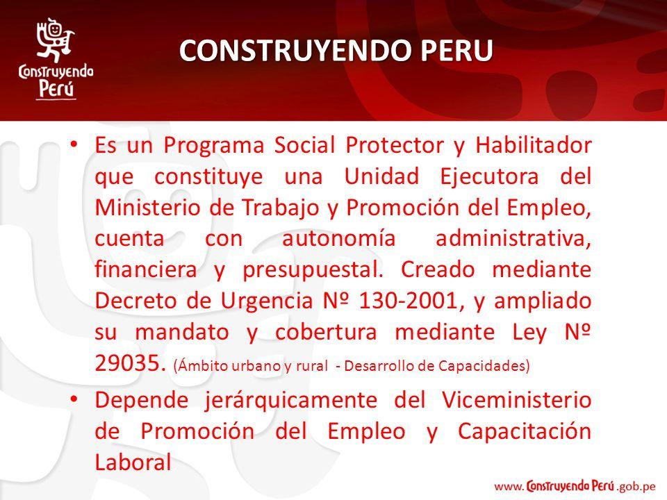 CONSTRUYENDO PERU Es un Programa Social Protector y Habilitador que constituye una Unidad Ejecutora del Ministerio de Trabajo y Promoción del Empleo,