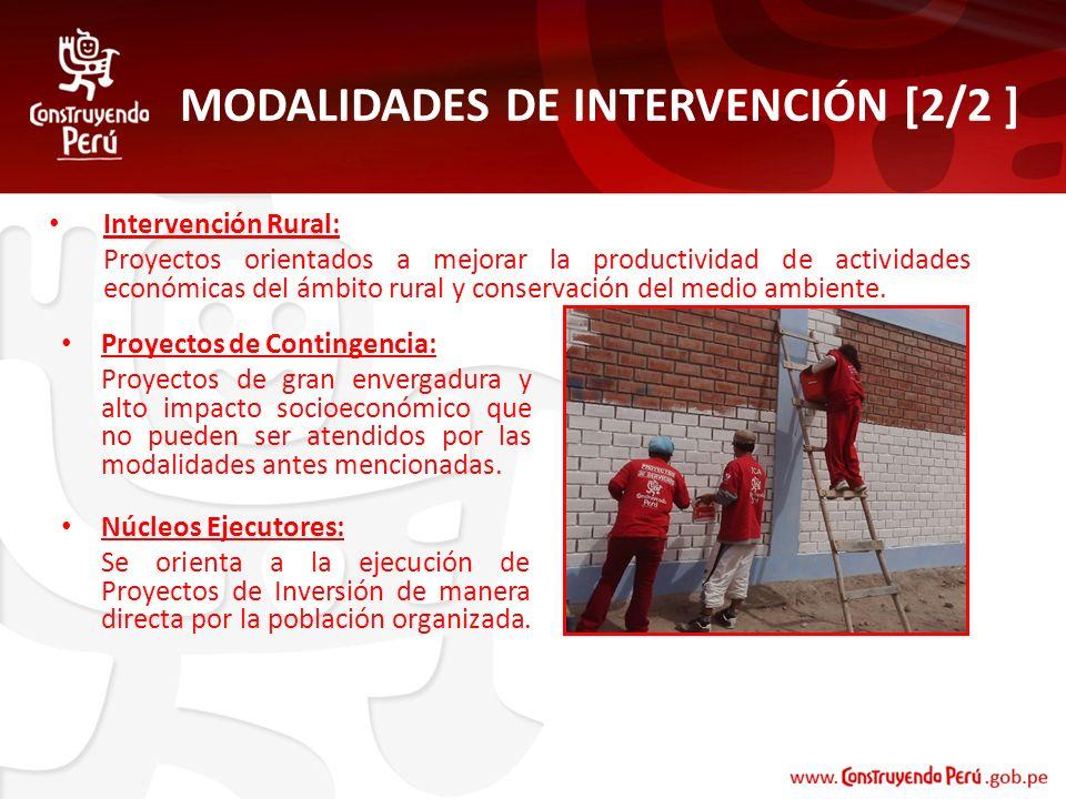 MODALIDADES DE INTERVENCIÓN [2/2 ] Proyectos de Contingencia: Proyectos de gran envergadura y alto impacto socioeconómico que no pueden ser atendidos