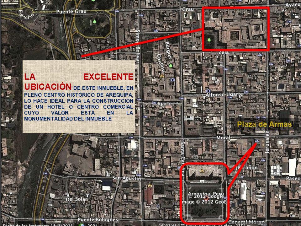 LA EXCELENTE UBICACIÓN DE ESTE INMUEBLE, EN PLENO CENTRO HISTÓRICO DE AREQUIPA, LO HACE IDEAL PARA LA CONSTRUCCIÓN DE UN HOTEL O CENTRO COMERCIAL CUYO