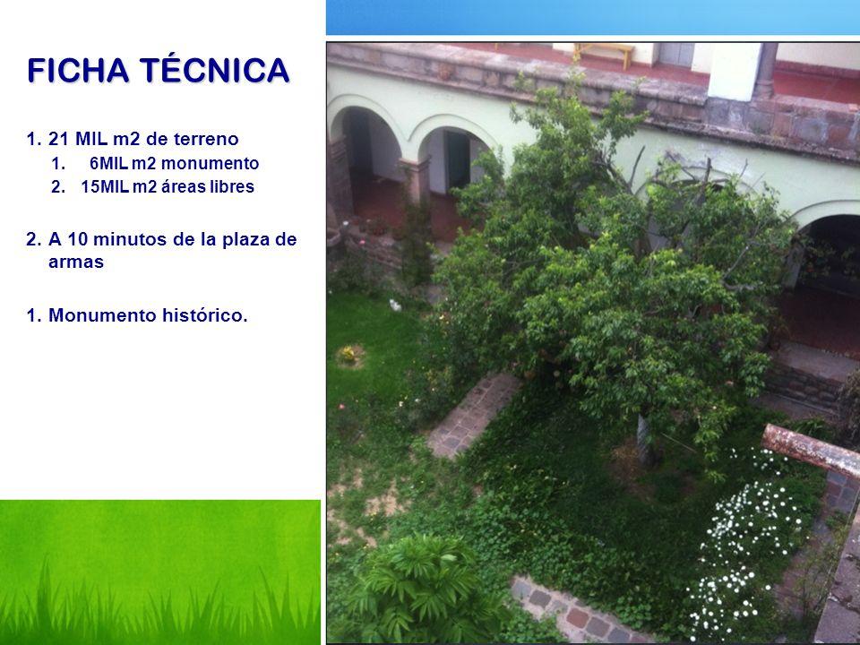 FICHA TÉCNICA 1.21 MIL m2 de terreno 1. 6MIL m2 monumento 2.15MIL m2 áreas libres 2.A 10 minutos de la plaza de armas 1.Monumento histórico.
