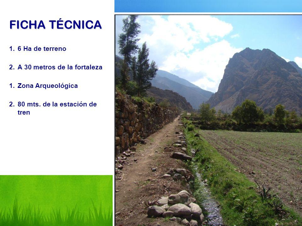 FICHA TÉCNICA 1.6 Ha de terreno 2.A 30 metros de la fortaleza 1.Zona Arqueológica 2.80 mts. de la estación de tren