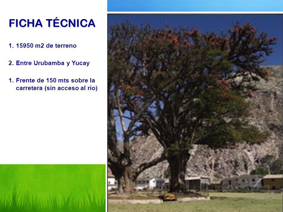 FICHA TÉCNICA 1.15950 m2 de terreno 2.Entre Urubamba y Yucay 1.Frente de 150 mts sobre la carretera (sin acceso al río)