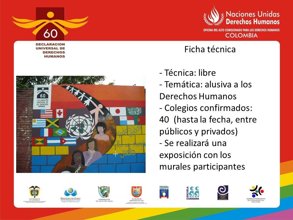 Ficha técnica - Técnica: libre - Temática: alusiva a los Derechos Humanos - Colegios confirmados: 40 (hasta la fecha, entre públicos y privados) - Se
