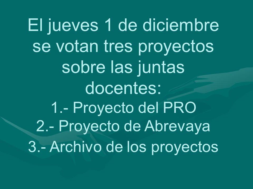 El jueves 1 de diciembre se votan tres proyectos sobre las juntas docentes: 1.- Proyecto del PRO 2.- Proyecto de Abrevaya 3.- Archivo de los proyectos