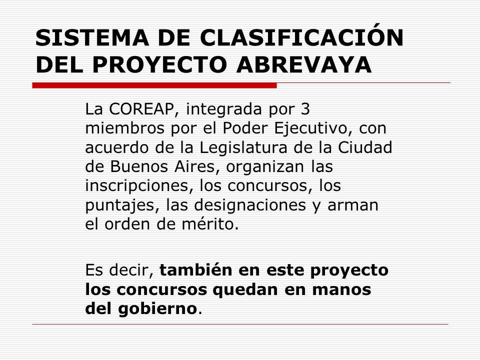 SISTEMA DE CLASIFICACIÓN DEL PROYECTO ABREVAYA La COREAP, integrada por 3 miembros por el Poder Ejecutivo, con acuerdo de la Legislatura de la Ciudad de Buenos Aires, organizan las inscripciones, los concursos, los puntajes, las designaciones y arman el orden de mérito.