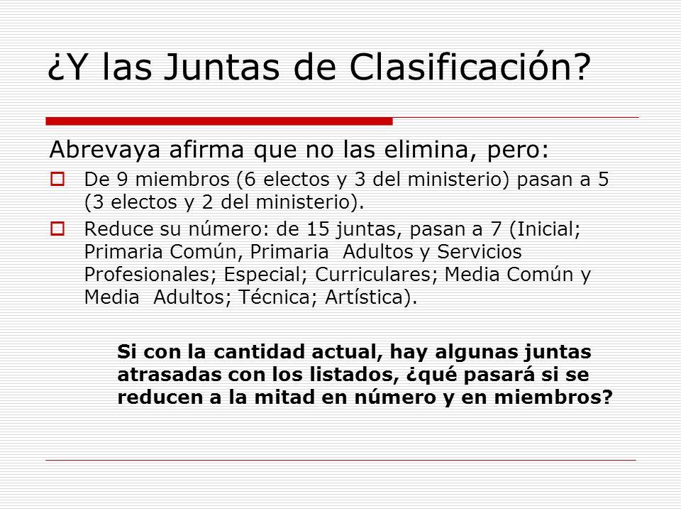 ¿Y las Juntas de Clasificación? Abrevaya afirma que no las elimina, pero: De 9 miembros (6 electos y 3 del ministerio) pasan a 5 (3 electos y 2 del mi