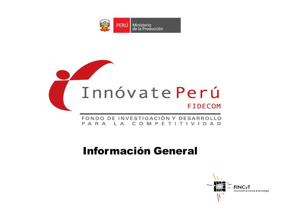 Objetivo: Cofinanciar a través de concursos Proyectos de Innovación Productiva Desarrollo de innovación en procesos, productos y servicios, y transferencia y difusión tecnológica para el incremento de la productividad y competitividad empresarial.