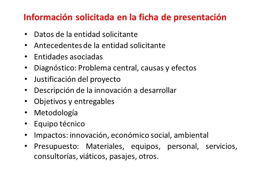 Información solicitada en la ficha de presentación Datos de la entidad solicitante Antecedentes de la entidad solicitante Entidades asociadas Diagnóst