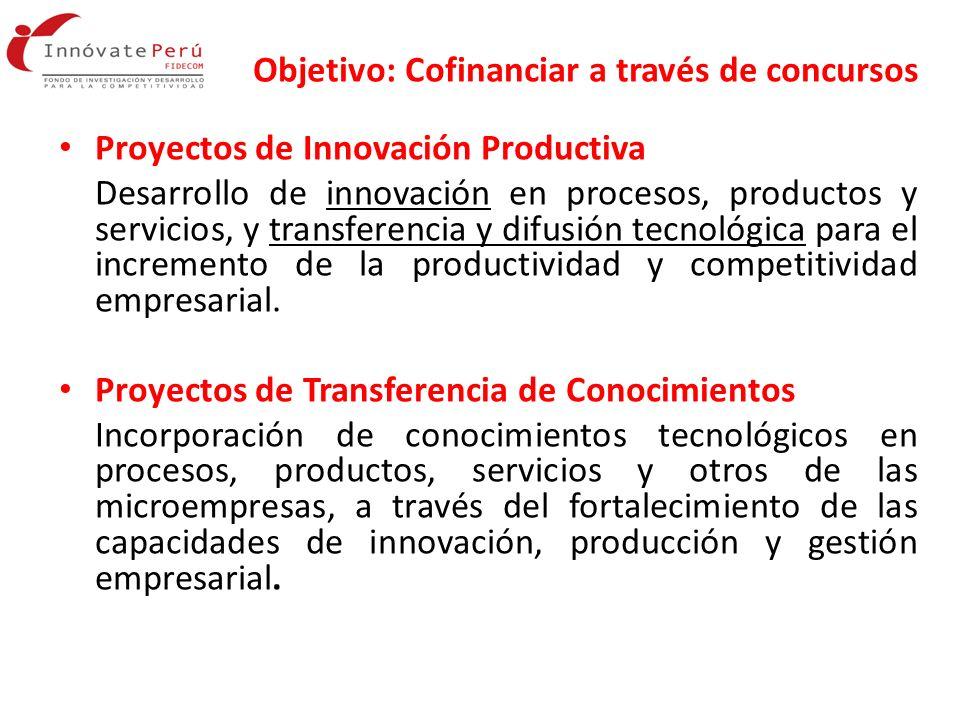 Objetivo: Cofinanciar a través de concursos Proyectos de Innovación Productiva Desarrollo de innovación en procesos, productos y servicios, y transfer