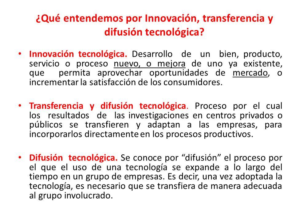 ¿Qué entendemos por Innovación, transferencia y difusión tecnológica? Innovación tecnológica. Desarrollo de un bien, producto, servicio o proceso nuev