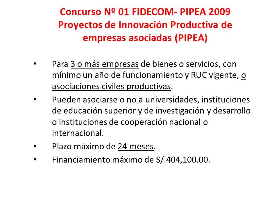 Concurso Nº 01 FIDECOM- PIPEA 2009 Proyectos de Innovación Productiva de empresas asociadas (PIPEA) Para 3 o más empresas de bienes o servicios, con m