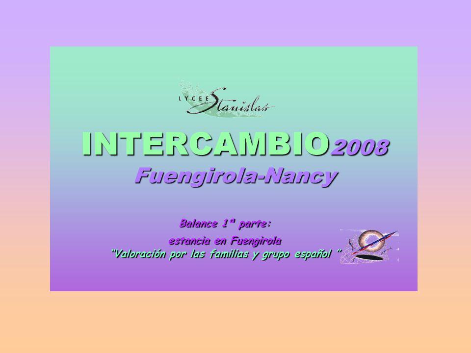 INTERCAMBIO2008 Fuengirola-Nancy Balance 1ª parte: estancia en Fuengirola Valoración por las familias y grupo español Valoración por las familias y grupo español