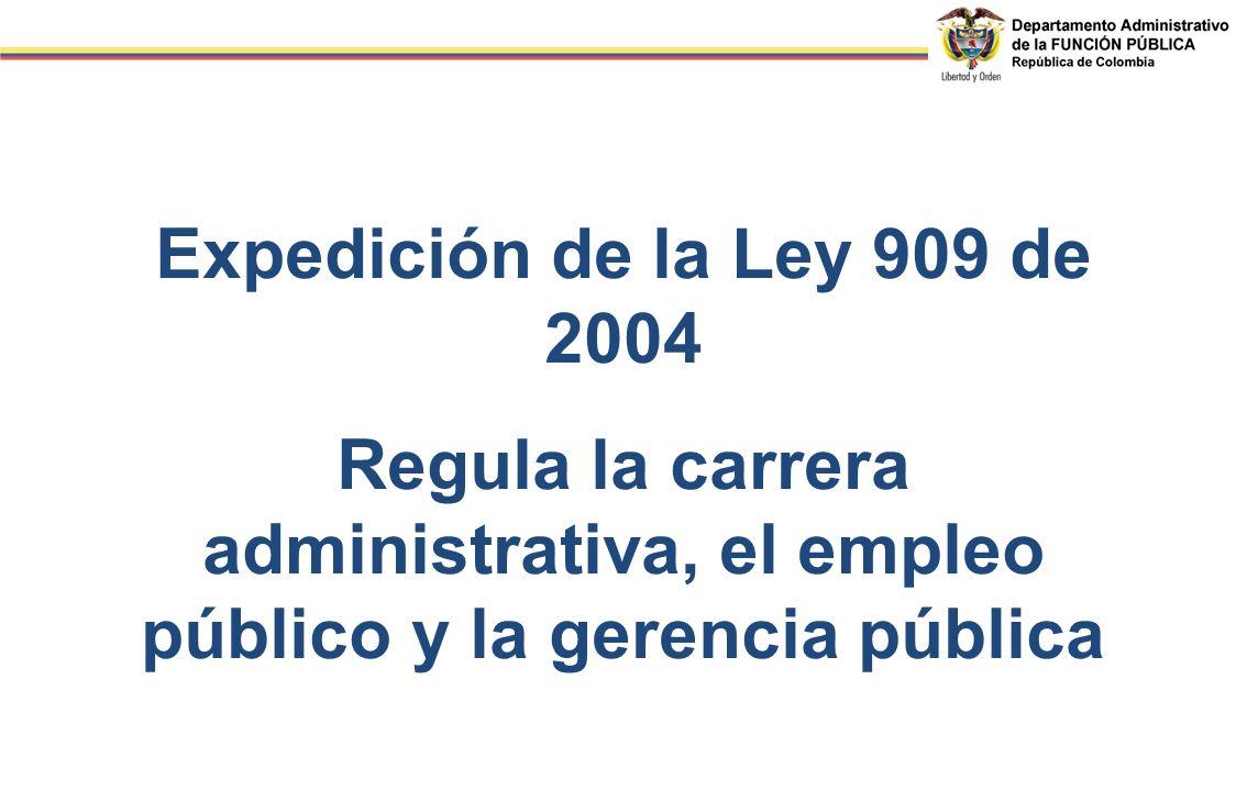 Expedición de la Ley 909 de 2004 Regula la carrera administrativa, el empleo público y la gerencia pública