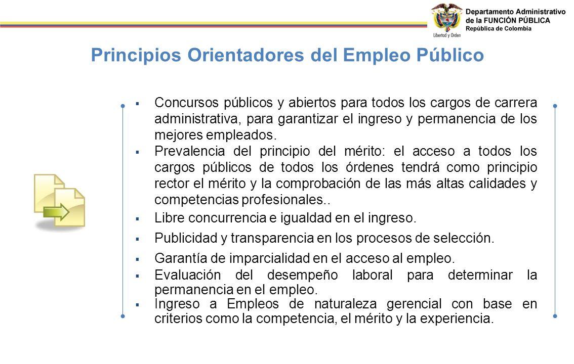 Principios Orientadores del Empleo Público Concursos públicos y abiertos para todos los cargos de carrera administrativa, para garantizar el ingreso y permanencia de los mejores empleados.