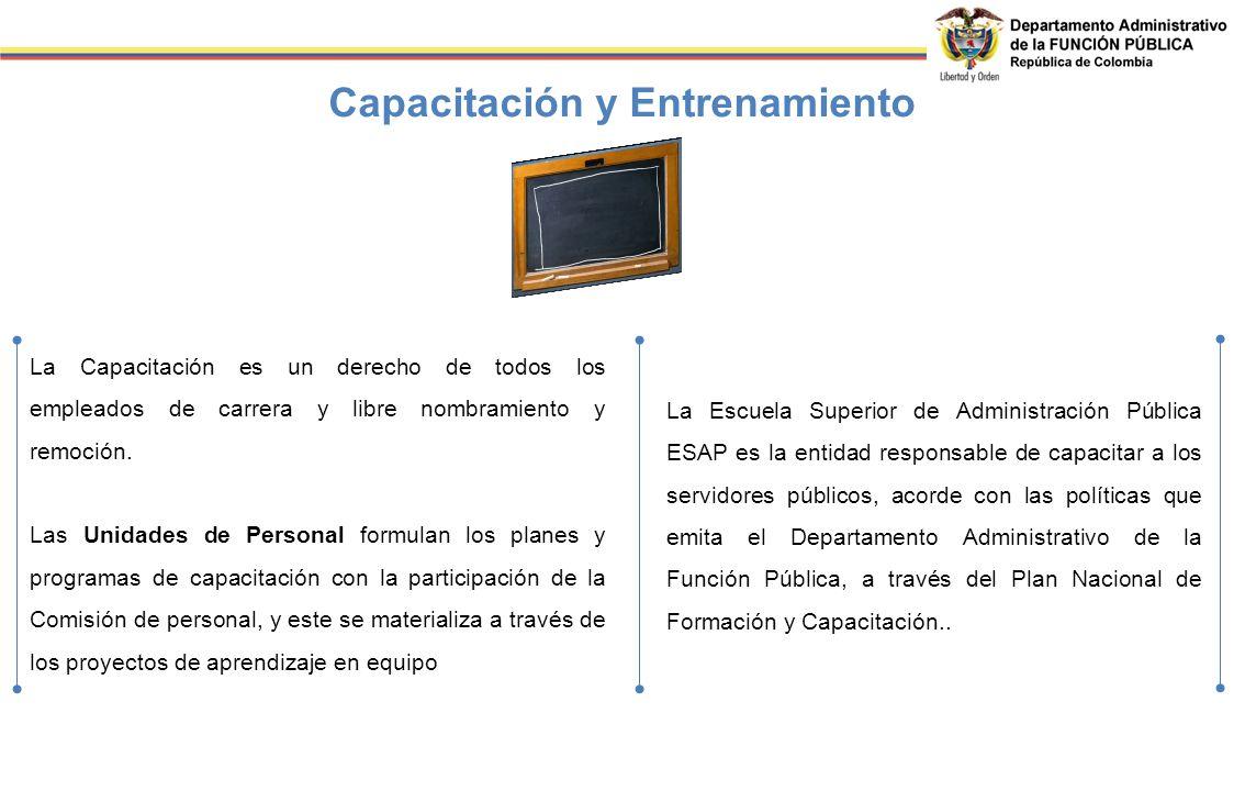 Capacitación y Entrenamiento La Capacitación es un derecho de todos los empleados de carrera y libre nombramiento y remoción. Las Unidades de Personal