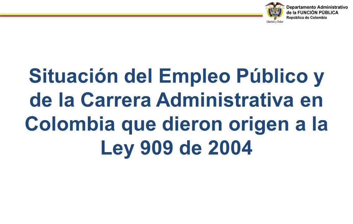 Situación del Empleo Público y de la Carrera Administrativa en Colombia que dieron origen a la Ley 909 de 2004