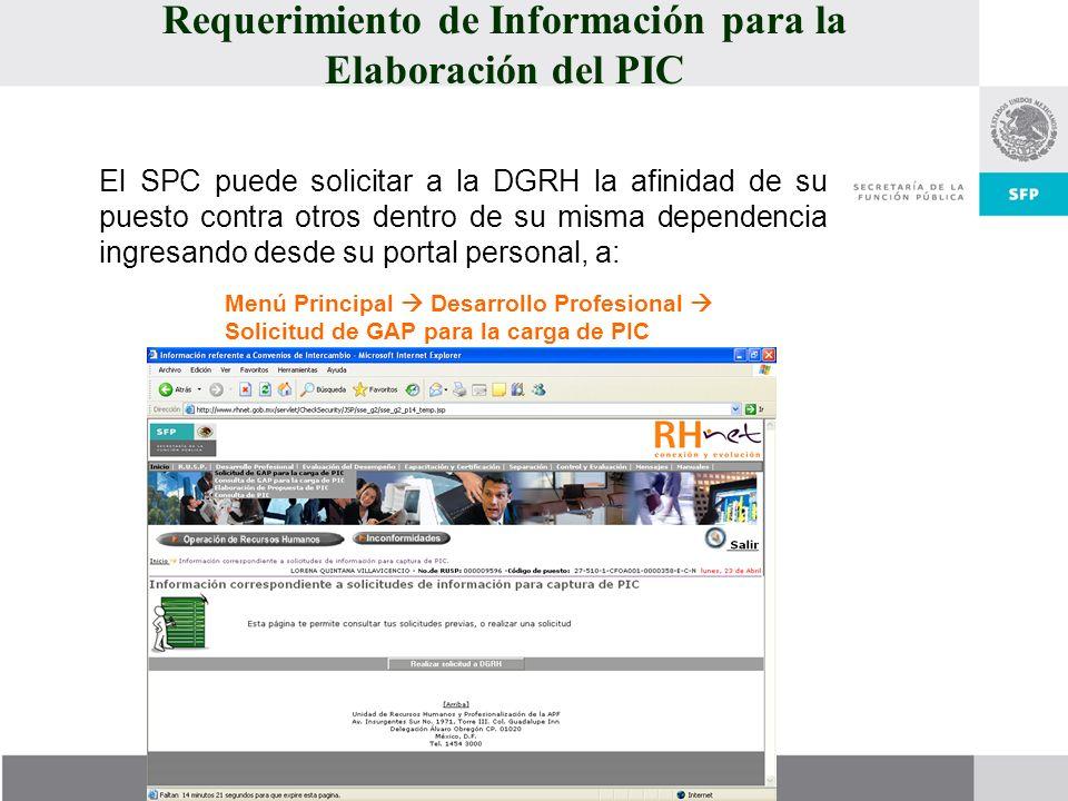 Requerimiento de Información para la Elaboración del PIC El SPC puede solicitar a la DGRH la afinidad de su puesto contra otros dentro de su misma dep