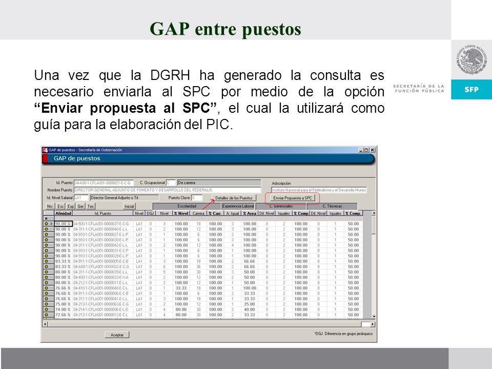 GAP entre puestos Una vez que la DGRH ha generado la consulta es necesario enviarla al SPC por medio de la opción Enviar propuesta al SPC, el cual la