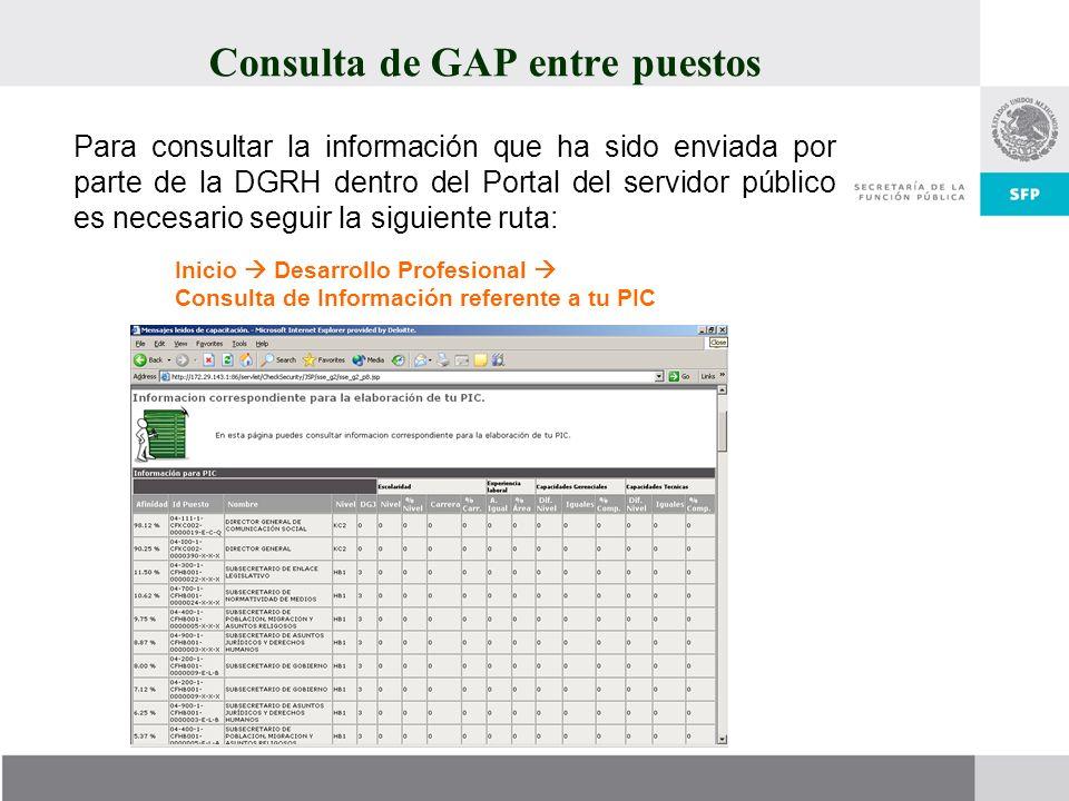 Consulta de GAP entre puestos Para consultar la información que ha sido enviada por parte de la DGRH dentro del Portal del servidor público es necesar