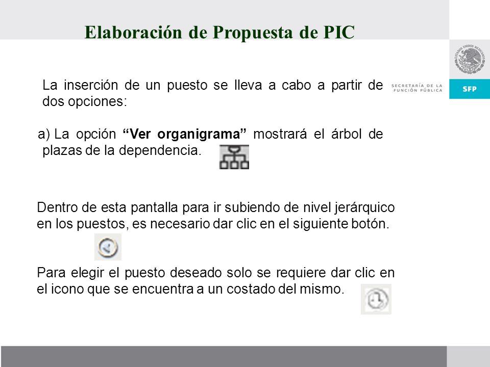 La inserción de un puesto se lleva a cabo a partir de dos opciones: a) La opción Ver organigrama mostrará el árbol de plazas de la dependencia. Dentro