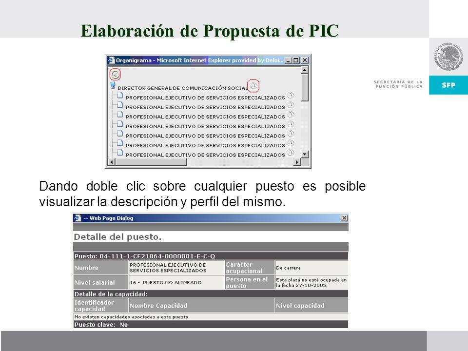 Elaboración de Propuesta de PIC Dando doble clic sobre cualquier puesto es posible visualizar la descripción y perfil del mismo.