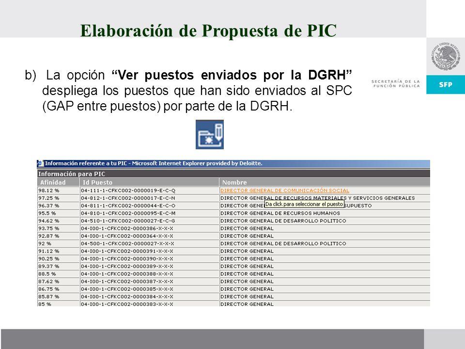 Elaboración de Propuesta de PIC b) La opción Ver puestos enviados por la DGRH despliega los puestos que han sido enviados al SPC (GAP entre puestos) p