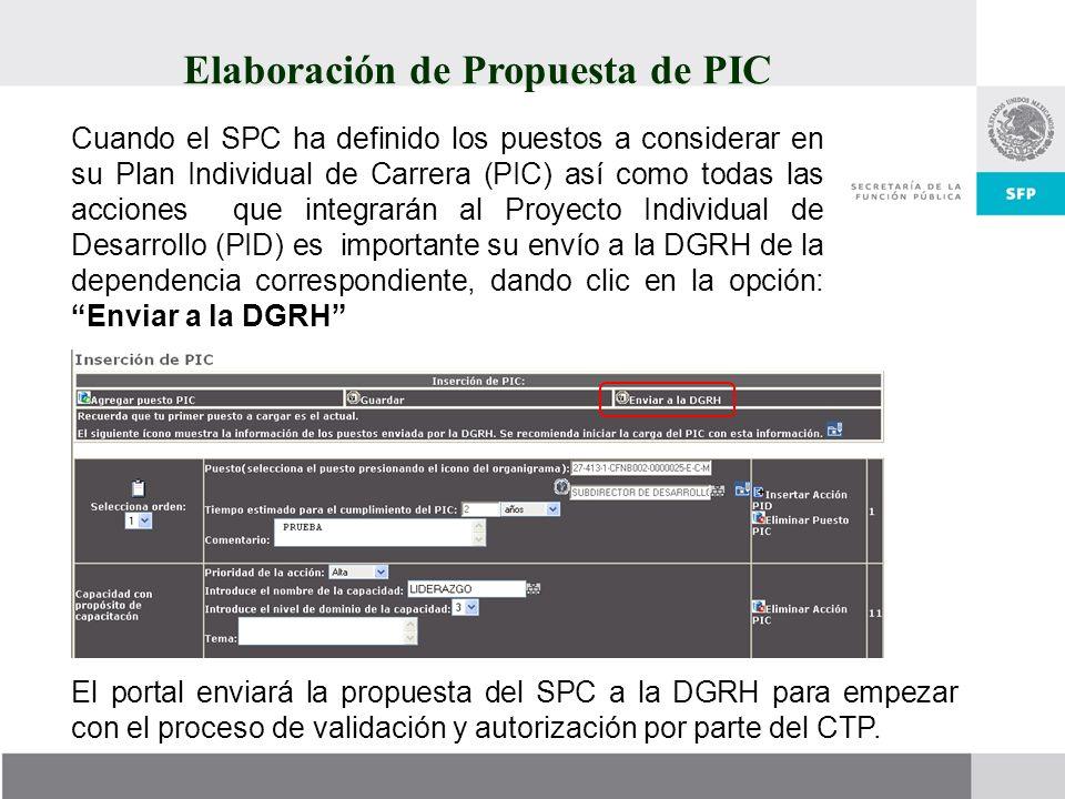 Elaboración de Propuesta de PIC Cuando el SPC ha definido los puestos a considerar en su Plan Individual de Carrera (PIC) así como todas las acciones