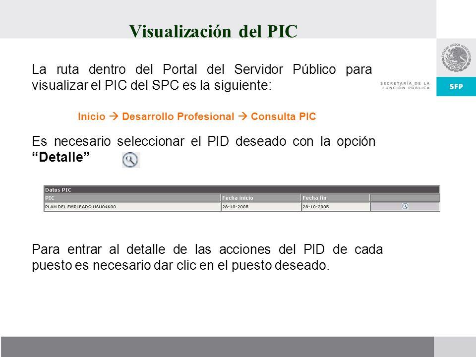 Visualización del PIC La ruta dentro del Portal del Servidor Público para visualizar el PIC del SPC es la siguiente: Inicio Desarrollo Profesional Con