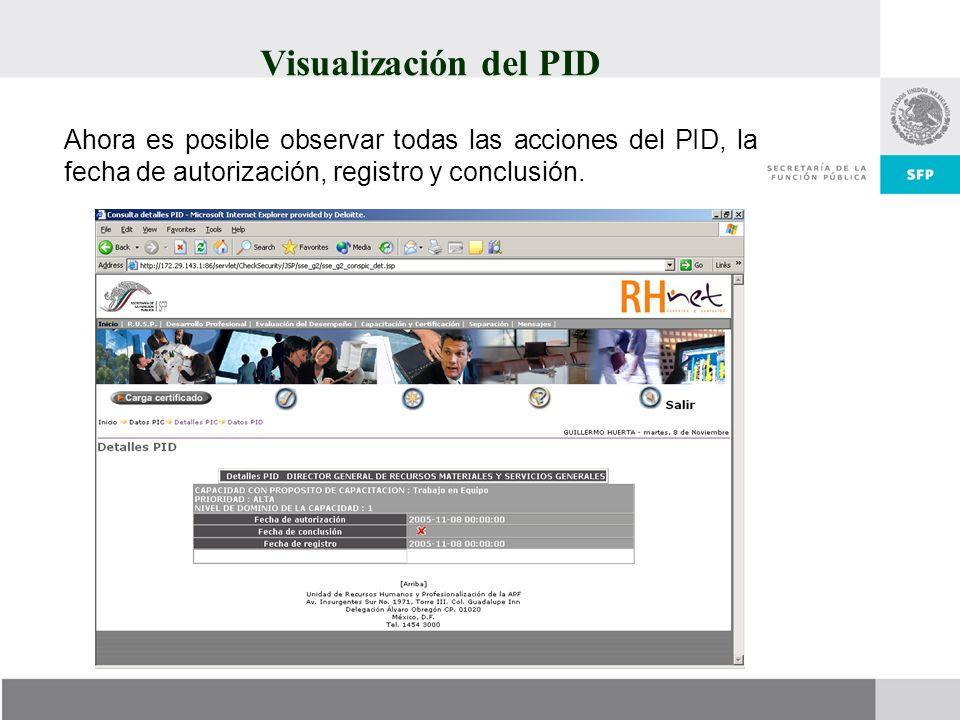 Ahora es posible observar todas las acciones del PID, la fecha de autorización, registro y conclusión.