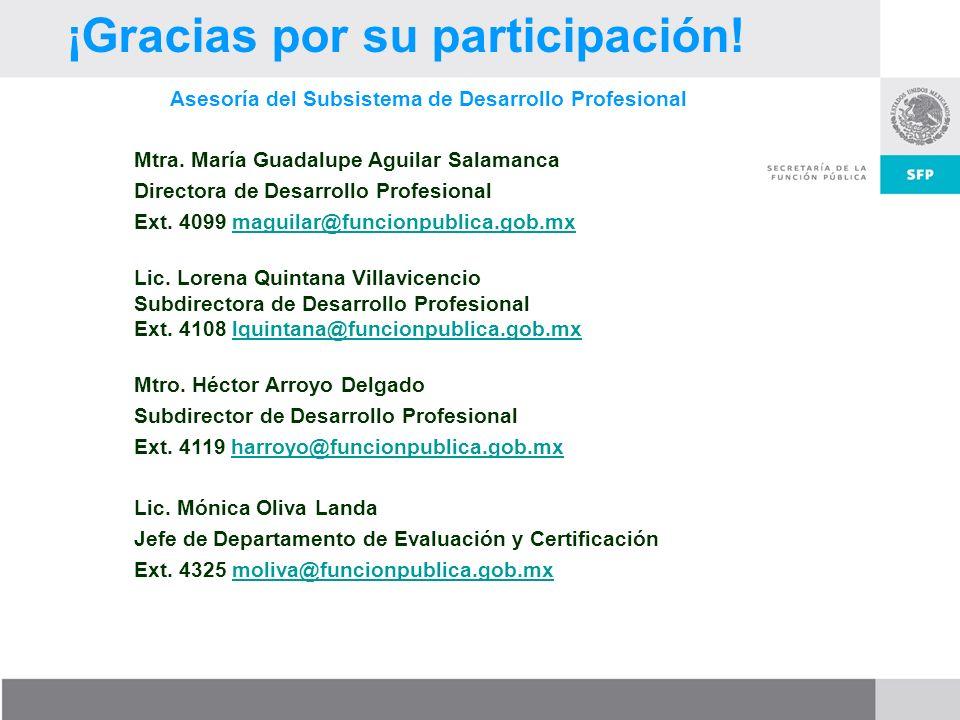 ¡Gracias por su participación! Asesoría del Subsistema de Desarrollo Profesional Mtra. María Guadalupe Aguilar Salamanca Directora de Desarrollo Profe