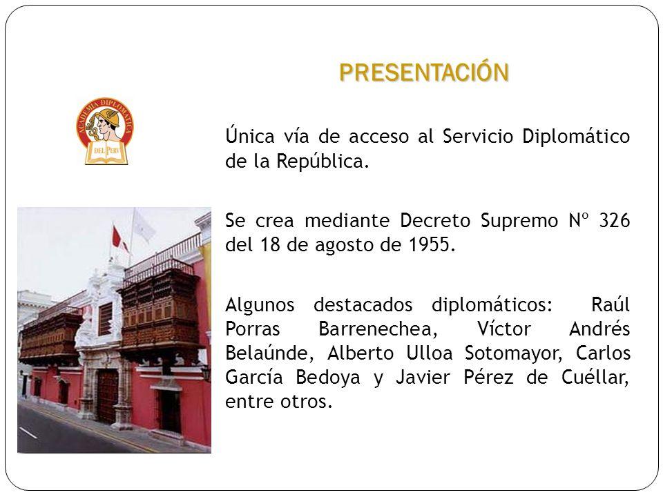 PRESENTACIÓN Única vía de acceso al Servicio Diplomático de la República. Se crea mediante Decreto Supremo Nº 326 del 18 de agosto de 1955. Algunos de