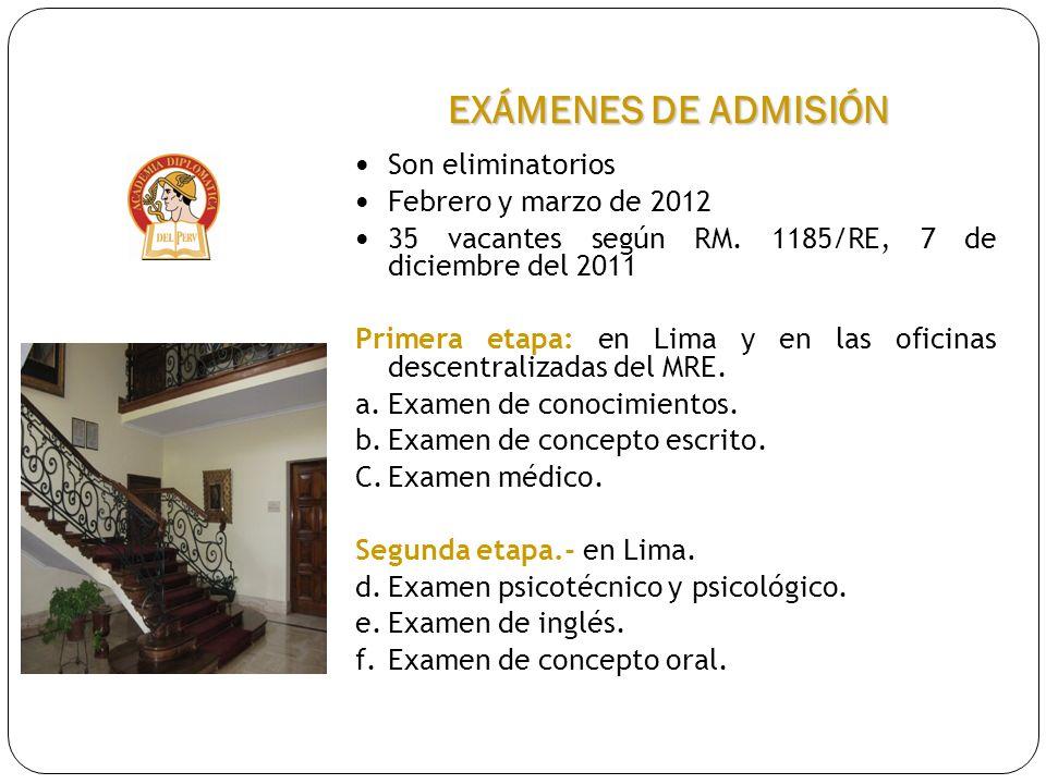 EXÁMENES DE ADMISIÓN Son eliminatorios Febrero y marzo de 2012 35 vacantes según RM. 1185/RE, 7 de diciembre del 2011 Primera etapa: en Lima y en las
