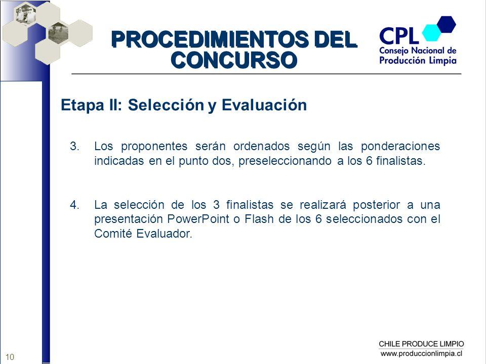 10 PROCEDIMIENTOS DEL CONCURSO Etapa II: Selección y Evaluación 3.Los proponentes serán ordenados según las ponderaciones indicadas en el punto dos, p